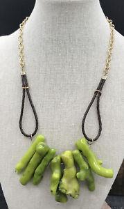 Barse Olivine Necklace- Leather & Bronze- NWT