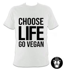 Choose Life Go Vegan White T-Shirt 80s Wham Inspired Pop Music Organic Gift