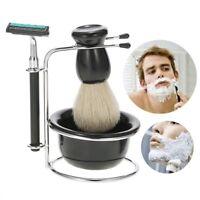 Men Manual Razor Set Stand Holder+4 Blade+Beard Razor Shaving+Shaving Brush+Bowl
