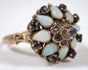 Antique Vtg SOLID 14k Yellow Gold Princess Harem Opal Blue Sapphire Ring Sz 7.5