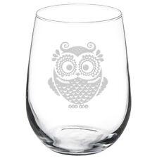 17oz Stemless Wine Glass Owl Vintage