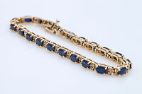 "$1000 15Ct Blue Sapphire & Diamond 14k Yellow Gold Over 7.25"" Tennis Bracelet"