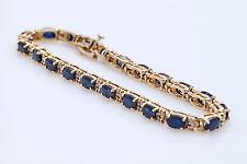 "$1000 15Ct Blue Sapphire & Diamond 14k Yellow Gold Over 7.25"" Tennis Bracelet"