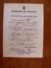 Estratto di Nascita Comune di Taranto 1940 con 2 marche da bollo 10 cent [AF-26]
