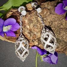 Diamante 18ct Blanco filigrana dorada grande Huso Colgante Diseñador FIRMADO