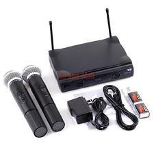 Professional Dual Vhf Cordless Wireless Microphone System Dj Karaoke 2 Mics