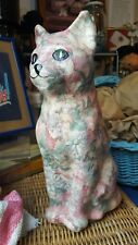 "Ceramic Flower Cat Figurine - 11"" tall"