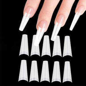 500pcs Decoration Party Artificial Nail Tips Half Cover Coffin Shape Flat Head