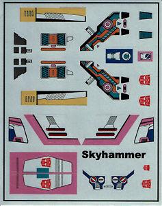TRANSFORMERS GENERATION 1, G1 AUTOBOT SKYHAMMER REPRO LABELS