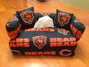 Chicago Bears Sofa Couch Tissue Box Cover With Little Pillows