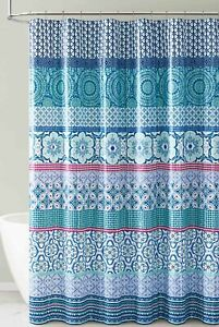 Teal Aqua White PEVA Shower Curtain Odorless, PVC and Chlorine Free ECO Friendly