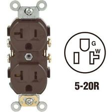 100 Pk Leviton 20A Brown 2 Pole 3 Wire 5-20R Duplex Electric Outlet S00-CR20-00S