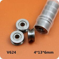 V624 Bore 4mm 4*13*6mm V Groove Guide Pulley Sealed Rail Ball Bearing x 5pcs