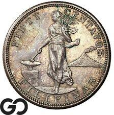 1905-S Philippines 50 Centavos, Silver, Tough Coin