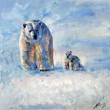 Art Knife OIL painting 100%hand-painted  Animal BEAR CANVAS Signed 40 x40cm