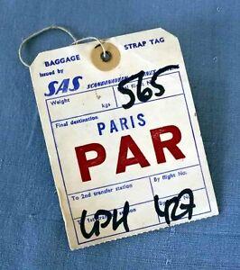 SAS Scandinavian Airlines  SK 565  to PARIS   Baggage Strap Tag