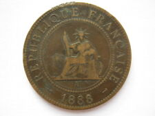 French Indo China 1888-A 1 Centime VF edge damage