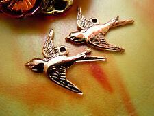 3 Stk. Zierliche Copper Plated Bird Charms- Schwalben-Anhänger m.Öse -16x17mm-