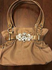Kathy Van Zeeland Satchal Handbag Gold Tone with Dual Straps