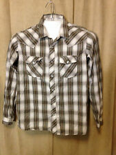 Mens Gotcha Western Shirt M Brown Plaids Long Sleeve 100% Cotton