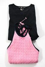 Polo Ralph Lauren Pink Navy Cotton Cable Knit Halter Tank Top Size Medium