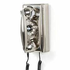 Vintage Wall Phone Retro Rotary Chrome Corded Telephone Push Button Home Accent