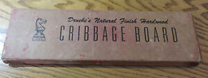 VINTAGE DRUEKE'S NATURAL FINISH HARDWOOD CRIBBAGE BOARD