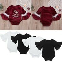Newborn Baby Girl Romper Flare Sleeve Christmas Jumpsuit Bodysuit Outfit Clothes
