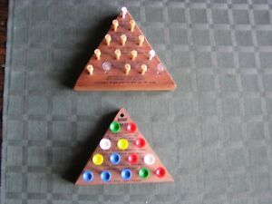 2 Vintage IQ TESTER & MIND CRAZE Wood Triangle Brain Teaser Game Puzzles-ExCond