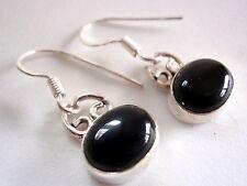 Black Onyx Ellipse 925 Sterling Silver Dangle Earrings