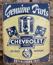 Retro Sign Antique Style Chevy Parts Detroit Made Ad Home Garage Wall Decor USA