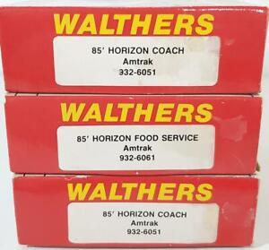 WALTHERS 932-6051, 932-6061 HO - AMTRAK LIVERY, 85' HORIZON FLEET PASSENGER CARS