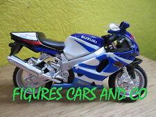 MOTO 1/18 SUZUKI GSXR 750 BLANC / BLEU MAISTO
