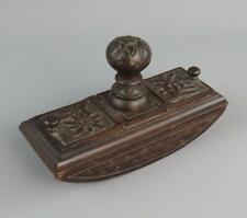More details for antique black forest hand carved desk ink blotter twin hinged stamp compartments