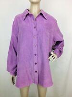 Avenue Women's Lavender Button-Up Moleskin Long Sleeve Top Size 18/20