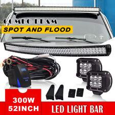 "50"" 52""INCH 300W CURVED LED LIGHT BAR+4"" PODS+BRACKETS FOR GMC SILVERADO CHEVY"