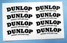 DUNLOP set of 8 'PATENT APPLIED FOR' Alloy & Wire wheel logo stickers 60mm wide
