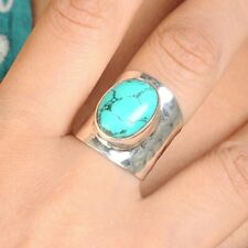 Big Turquoise Ring Sterling Silver Large Hammered Wide Band Bohemian Size 7 8 9