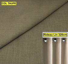 GRAND RIDEAU LIN NATUREL A OEILLETS Hauteur 320CM Double rideau lourd (TAUPE)
