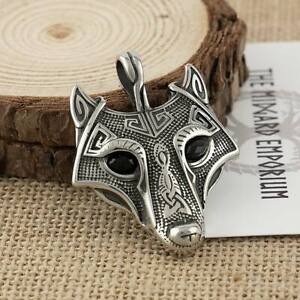 Viking Necklace Fenrir Wolf Pendant Stainless Steel Mens Jewellery