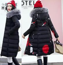 Womens Fur Hooded Winter long Padded Coat Puffer Down Jacket Parka Reversible
