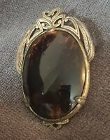 Vintage Miracle Brooch Pendant Faux Tortoisehell Stone claw hold pin