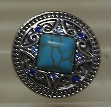Celtic pattern 3 with Turquoise Square centre stone Noosa Style Snap Button