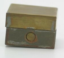 Antique Brass Square Traveling Lidded Inkwell with Glass Insert Bottle