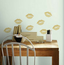 GOLD LIPS wall stickers 8 peel & stick glittery decals bedroom love kiss mouth