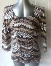 Suzanne Grae Top, Black & Brown Tones, Front Ruched Panel, 3/4 Sleeve, Sz L - 14
