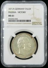 1871-A German States Prussia Silver Thaler NGC MS-61 Beautiful Coin 🤩