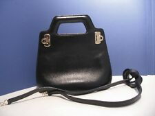 Ferragamo Mini Gancini Black Leather  2 Way Handbag