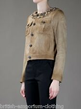 DSQUARED DSQUARED2 Cropped Suede Leather Embellished Jacket BNWOT UK12/14  ITA46