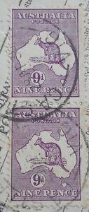 Australia 1932 9d Kangaroo pair with CASTLEMAINE postmark
